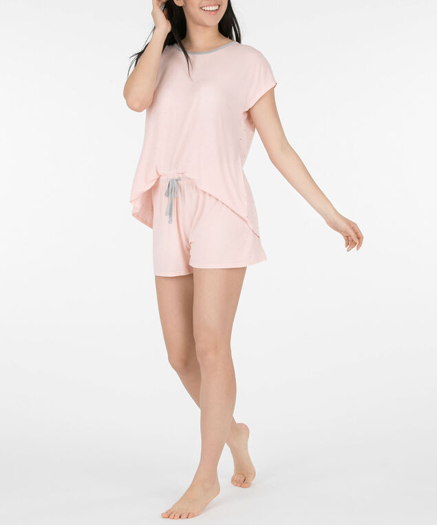 Flyaway Short Pajama Set, Coral/Grey, hi-res