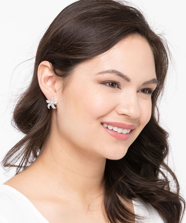 Earring Trio Set, Rhodium/Pearl, hi-res