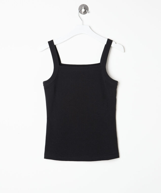 Square Neck Cami, Black, hi-res