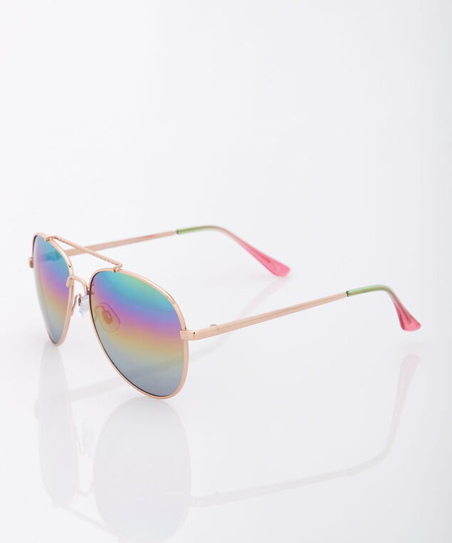 Rainbow Lens Aviator Sunglasses, Gold/Deep Green, hi-res