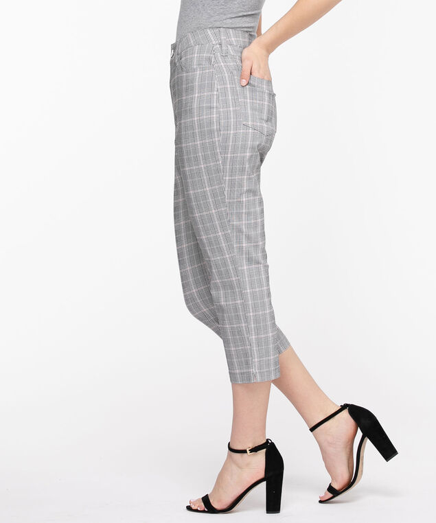 Microtwill Pull-On Crop Pant, Grey/Pink Plaid