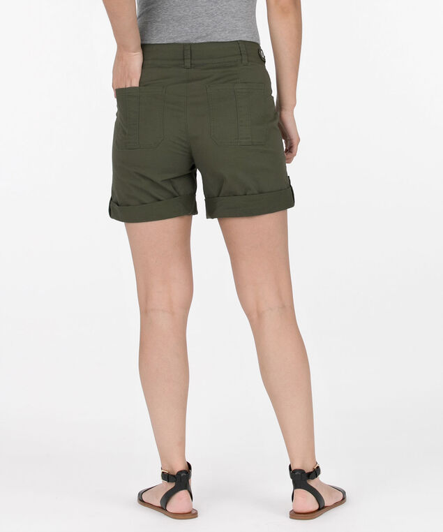 Washed Twill Roll-Cuff Short, Jade, hi-res
