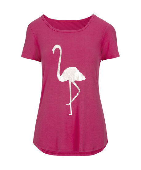 Flamingo Scoop Neck Tee, Hot Pink/Silver, hi-res