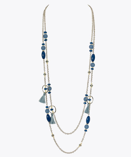 Stationed Bead & Tassel Necklace, Mid Blue/Rhodium, hi-res