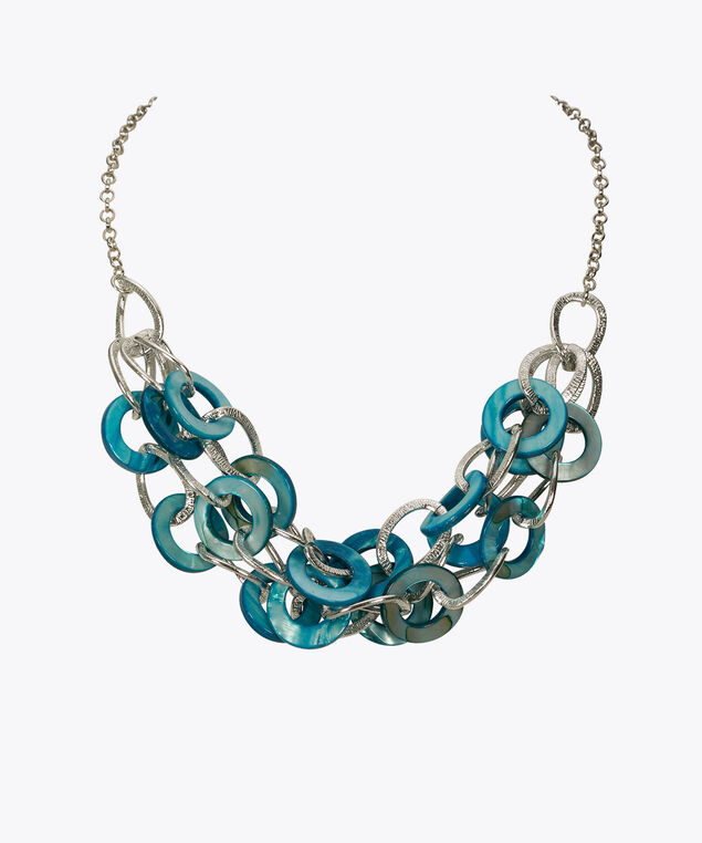 Shell & Textured Metal Statement Necklace, Rhodium/Sky Blue, hi-res