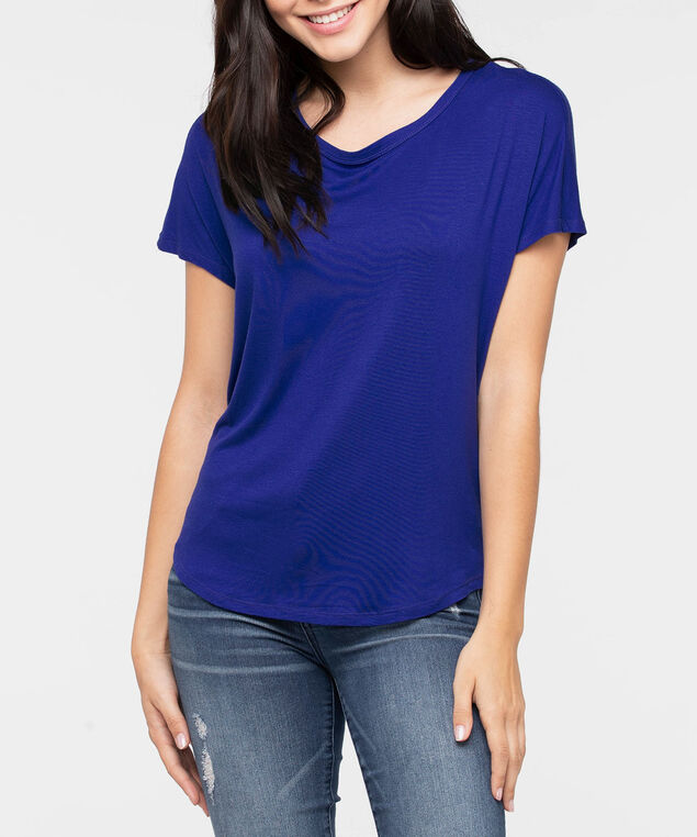 Short Sleeve Cowl Back Top, Ink Blue, hi-res
