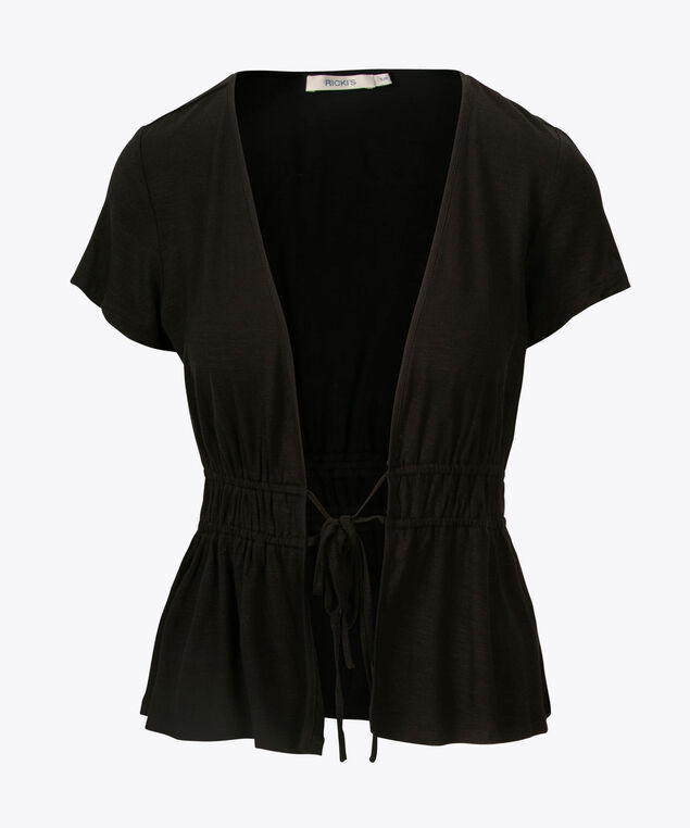 Short Sleeve Peplum Cardigan, Black, hi-res
