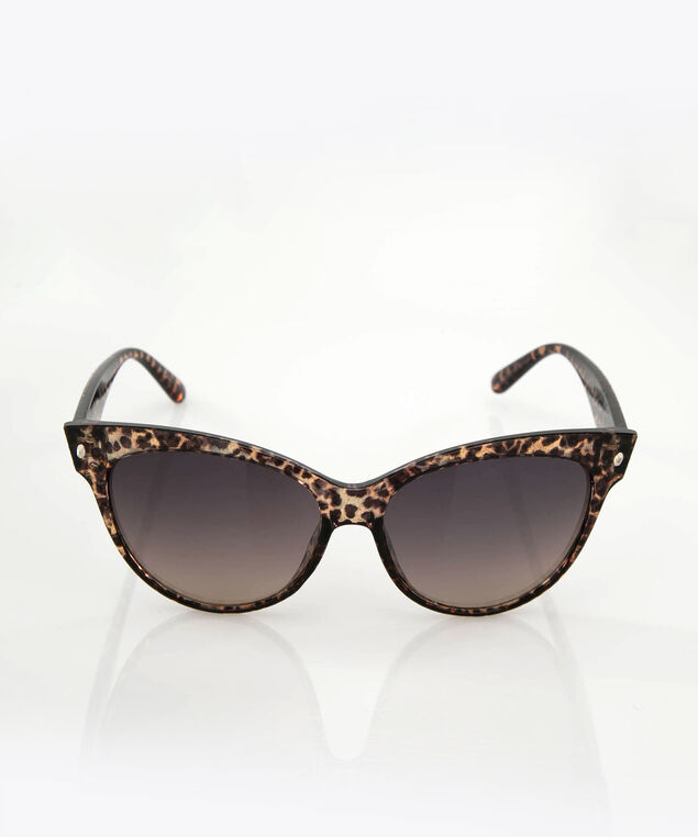 Animal Print Cateye Sunglasses, Brown, hi-res