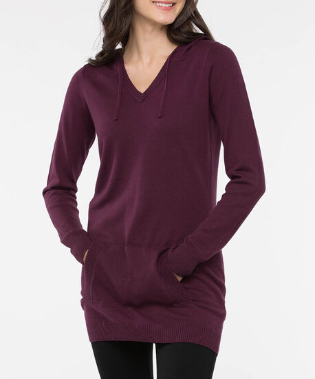 Hooded V-Neck Pullover Sweater, Burgundy, hi-res