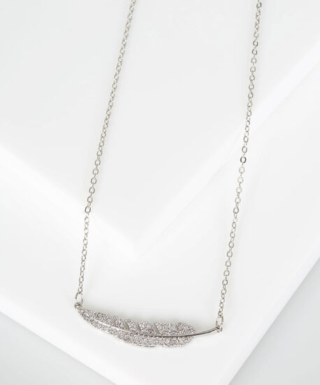 Crystal Feather Statement Necklace, Rhodium, hi-res