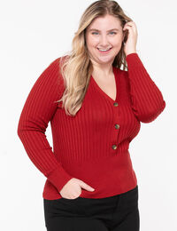 Ribbed Henley Pullover Sweater