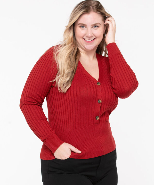 Ribbed Henley Pullover Sweater, Roasted Beet
