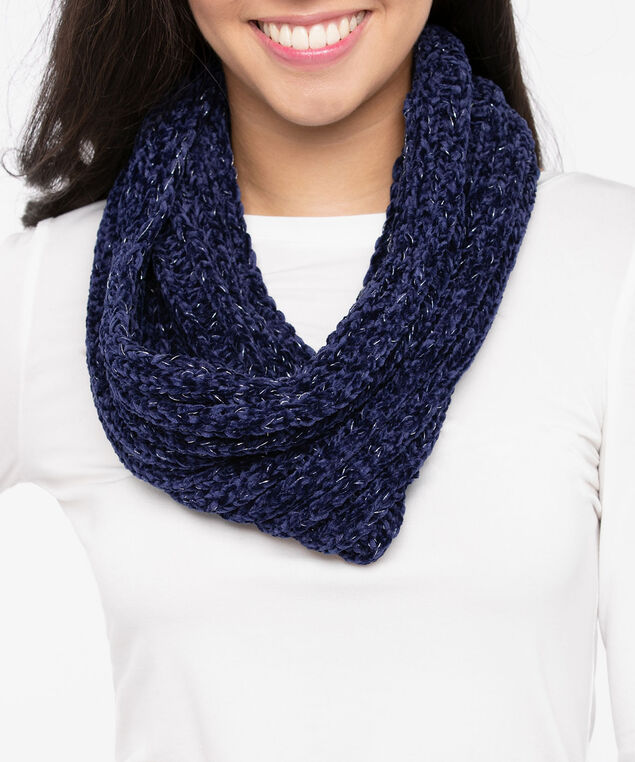 Chenille Eternity Scarf, Deep Sapphire, hi-res