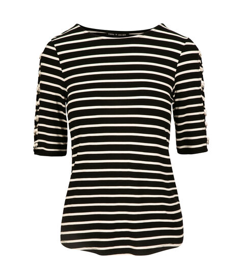 Striped Cage Sleeve Top, Black/Ivory, hi-res