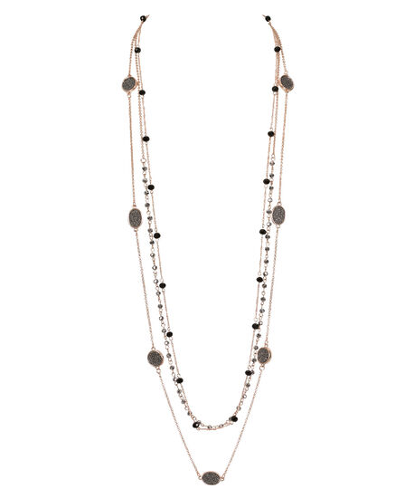 Stationed Bead & Glitter Paper Necklace, Black/Soft Rose Gold, hi-res