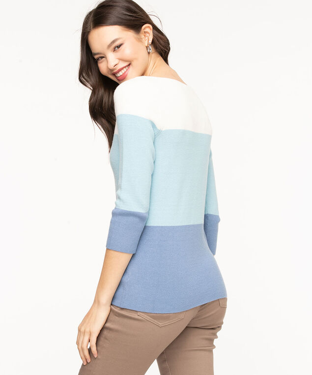 Boat Neck Colour Block Sweater, Marlin/Whisper White/Angel Blue
