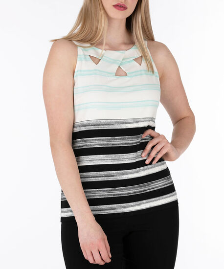 Sleeveless Twist Neck Top, Milkshake/Aqua/Black, hi-res