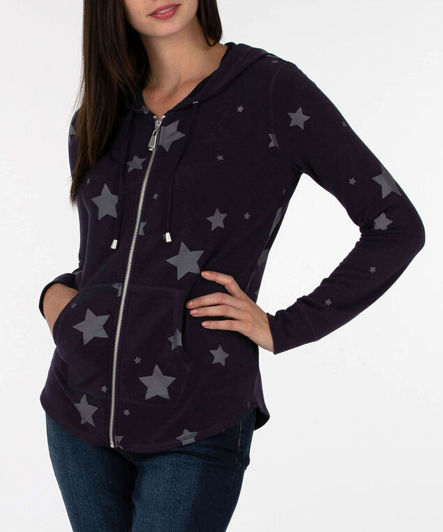 Star Print Zipper Front Hoodie, Summer Navy/Dark Grey, hi-res