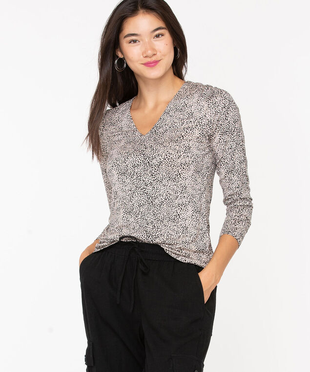 V-Neck Layering Essential Top, Black/Oatmeal, hi-res