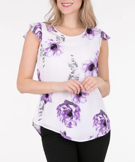 Scoop Neck Flutter Sleeve Blouse, Milkshake/Deep Purple, hi-res