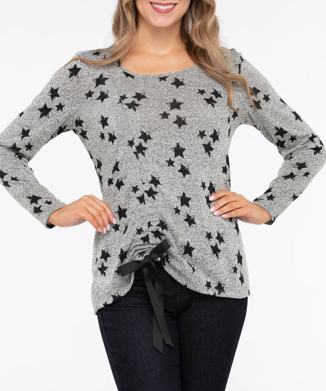 Long Sleeve Ruched Star Print Top, Heather Grey/Black, hi-res