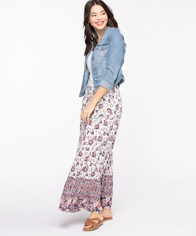 Floral Tiered Maxi Skirt, Pearl/Paprika/Summer Navy/Cayenne