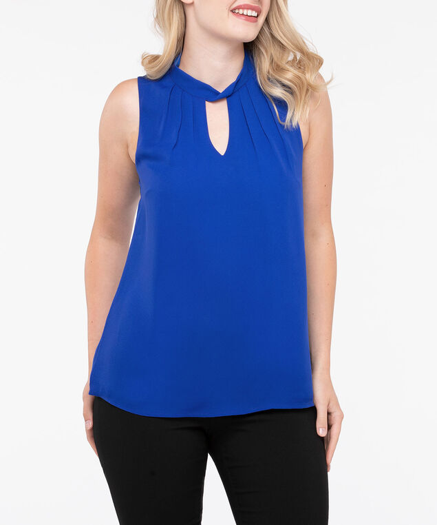 Sleeveless Twist Neck Keyhole Blouse, Blue, hi-res