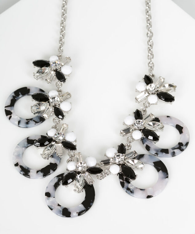 Crystal Cluster & Resin Statement Necklace, Black/Pearl/Rhodium, hi-res