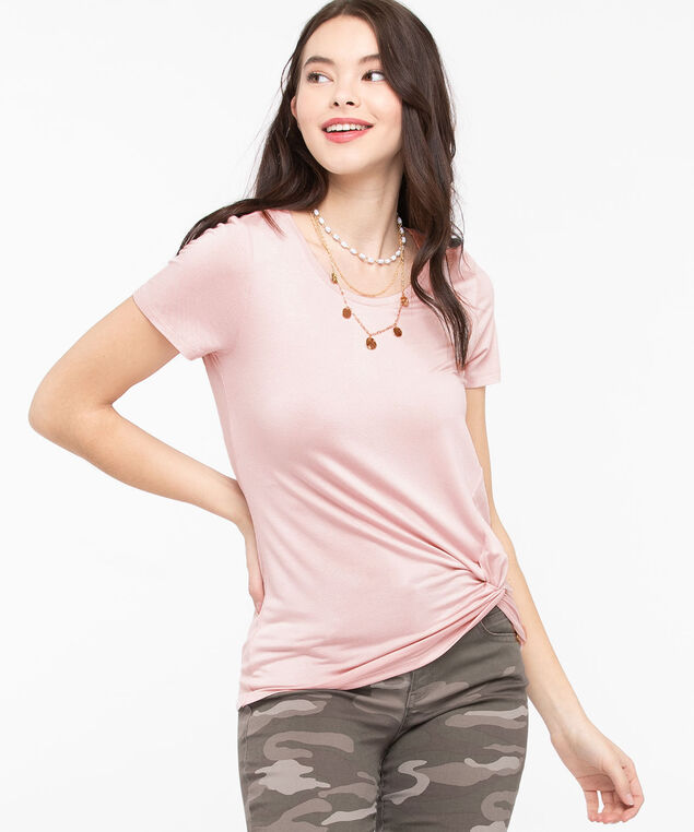 Knot Front Short Sleeve Top, Rose Petal, hi-res