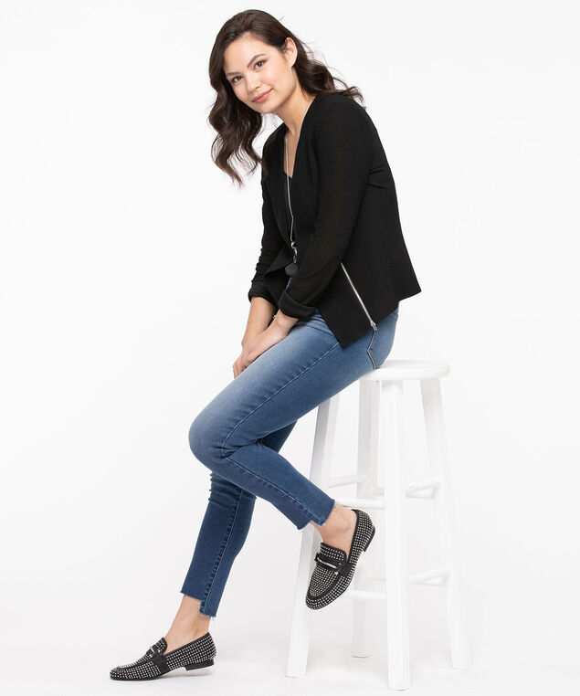 Zipper Trim Easy Stretch Blazer, Black, hi-res