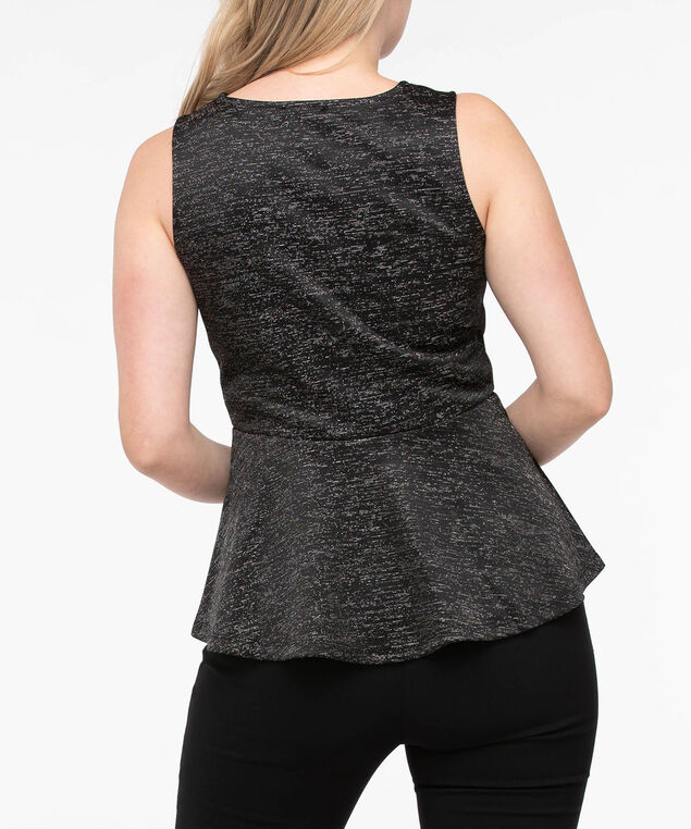 Sleeveless Sparkly Peplum Top, Black, hi-res