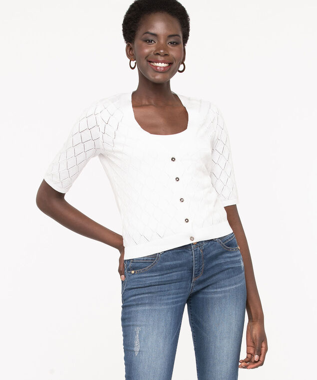 Pointelle Button Front Cardigan, True White, hi-res