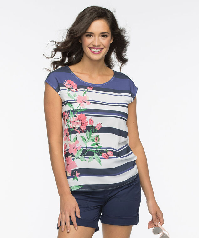 Extended Sleeve Mixed Media Top, White/Indigo/Pink, hi-res