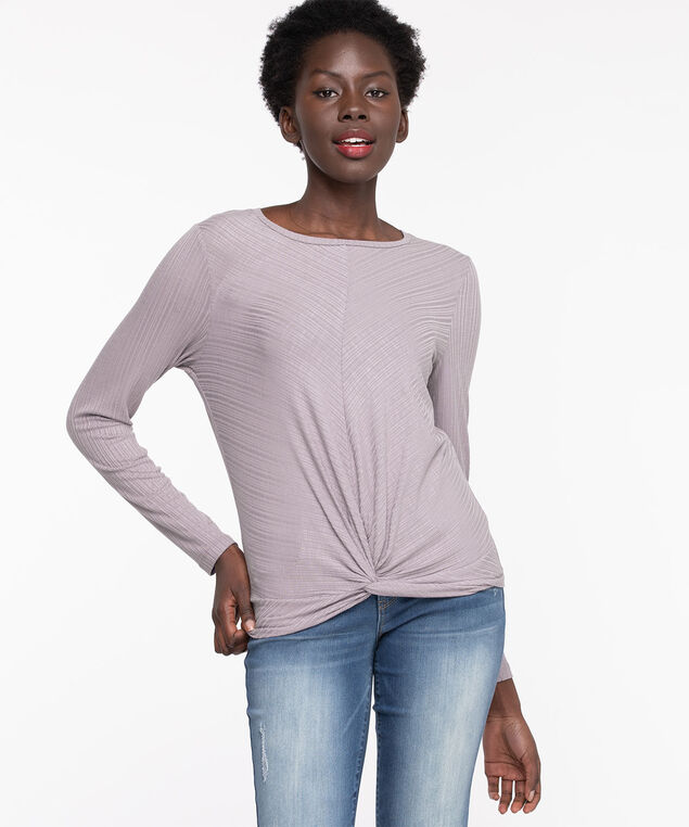 Long Sleeve Twist Front Top, Purple Ash
