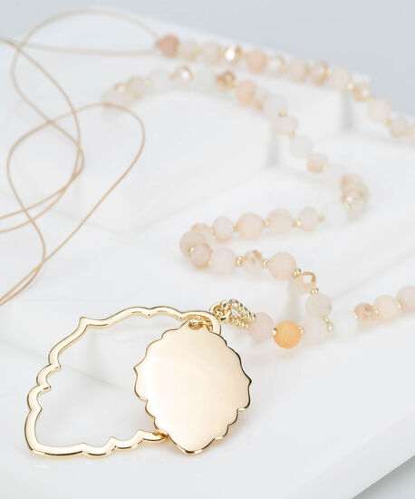 Faceted Stone & Pendant Necklace, Gold/Petal Pink, hi-res
