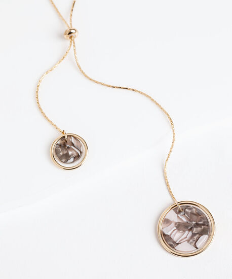 Double Pendant Resin Necklace, Gold, hi-res