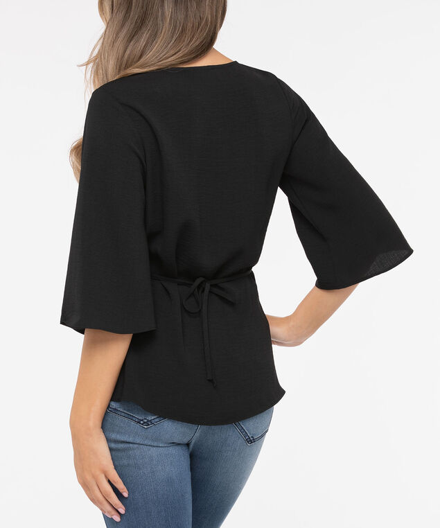 Twist Front Tie Waist Blouse, Black, hi-res