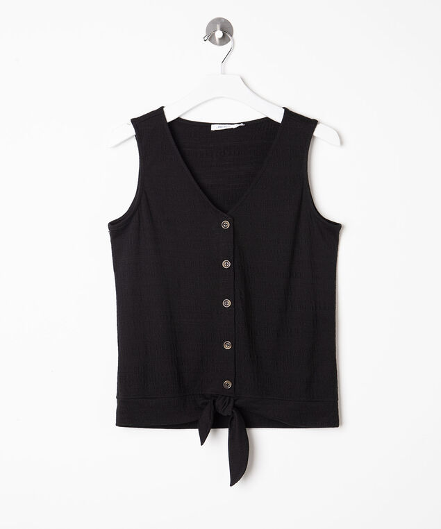 Sleeveless Tie Waist V-Neck Top, Black, hi-res
