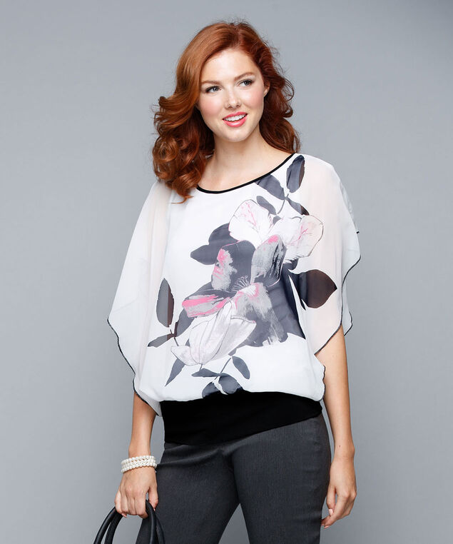 Dolman Sleeve Top, Milkshake/Pink/Black, hi-res
