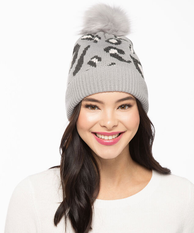 Leopard Print Hat, Grey/Pearl/Black, hi-res