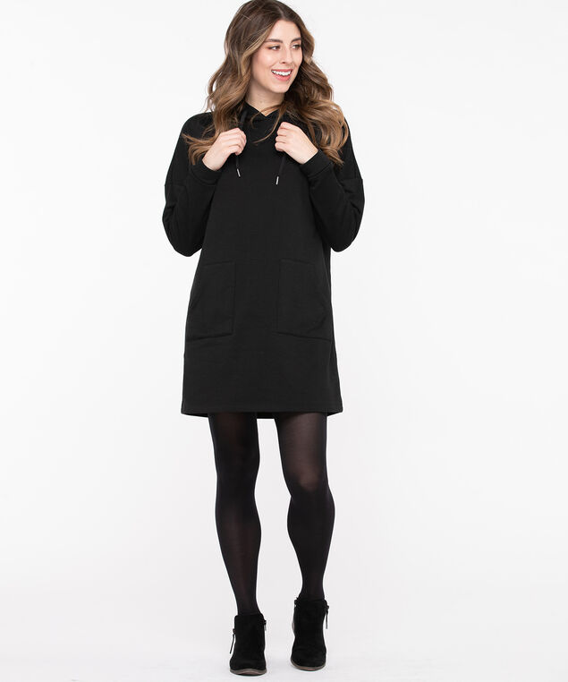 Hooded Sweatshirt Tunic Dress, Black, hi-res