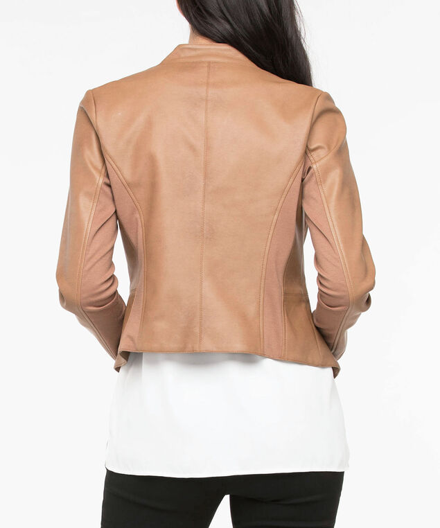 Faux Leather Open Front Blazer, Camel, hi-res