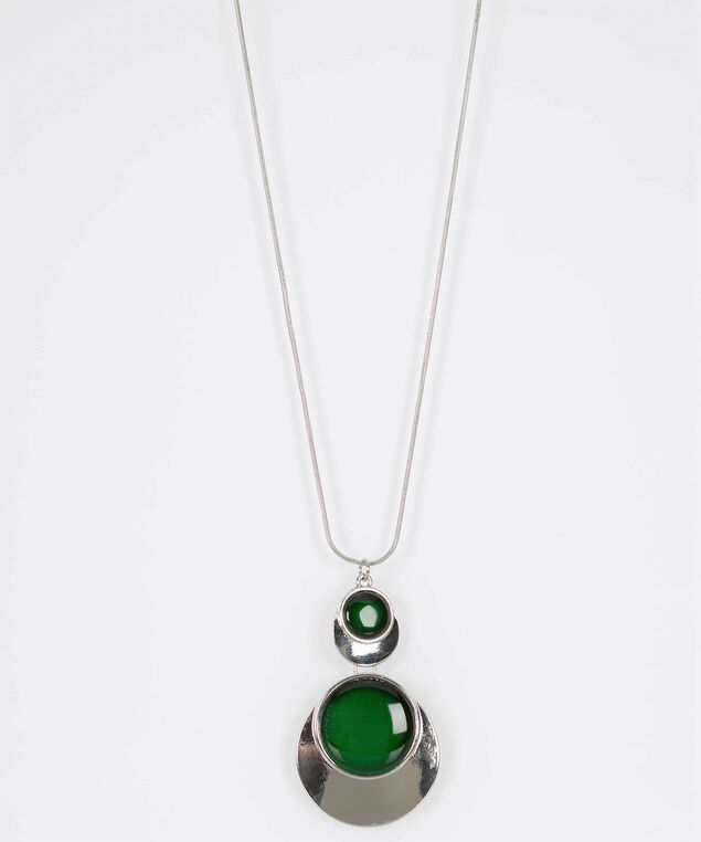 Dual Cateye Disc Statement Necklace, Green/Rhodium, hi-res