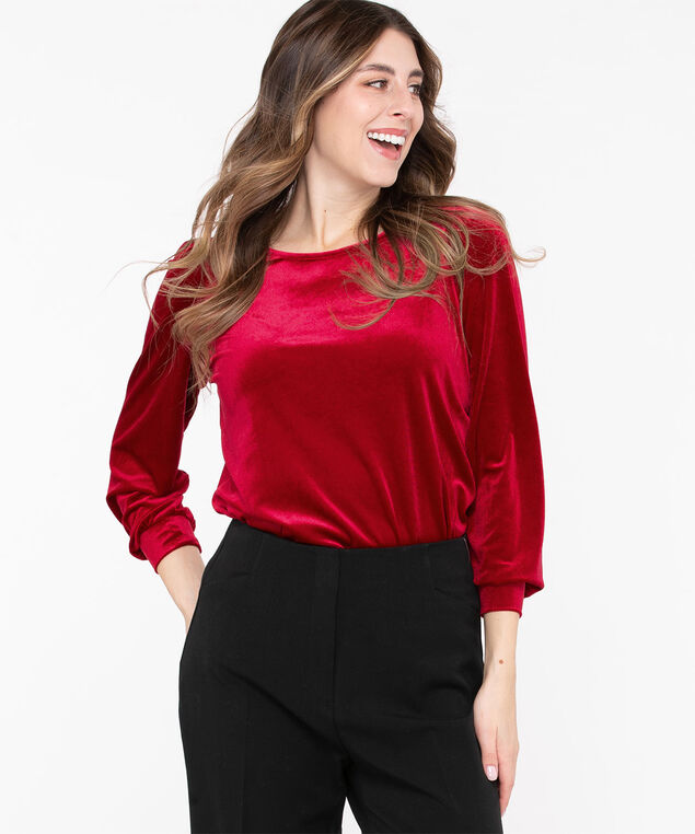 Velour Puff Sleeve Top, Poppy Red