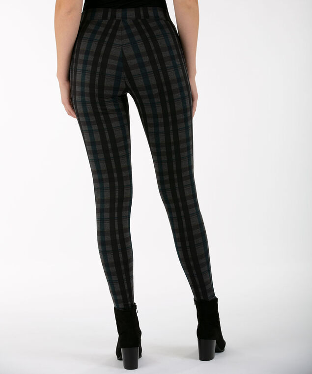 Teal Plaid Ponte Legging, Teal/Charcoal/Black, hi-res
