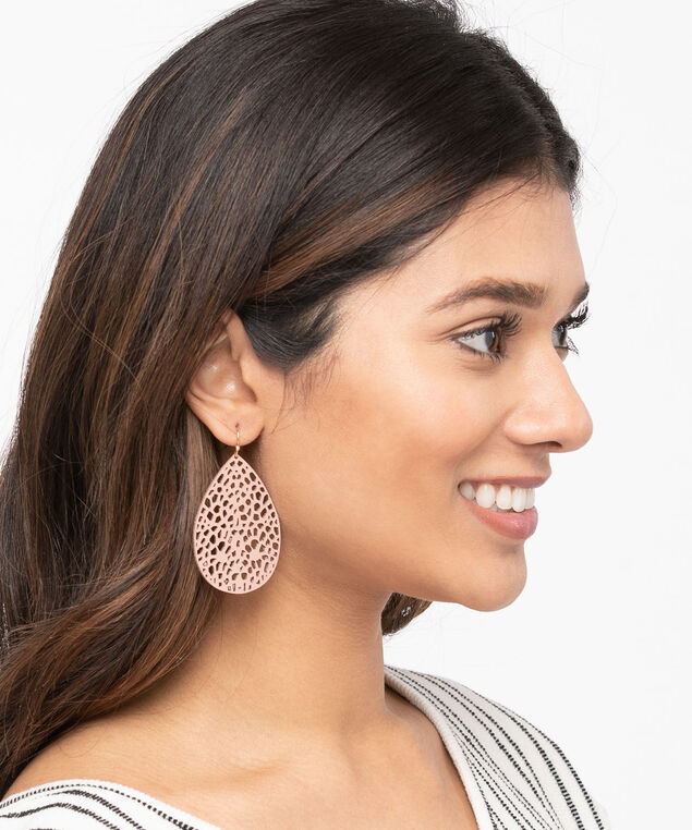Faux Leather Earring Set, Black/Rose Petal/Gold, hi-res