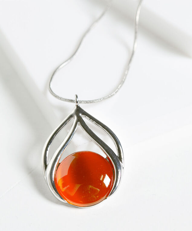 Cateye Pendant Necklace, Pumpkin/Rhodium, hi-res