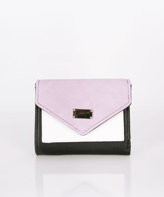 Compact Colourblock Wallet, Iced Violet/Black/White, hi-res