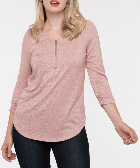 Zipper Front 3/4 Sleeve Top, Dusty Pink, hi-res