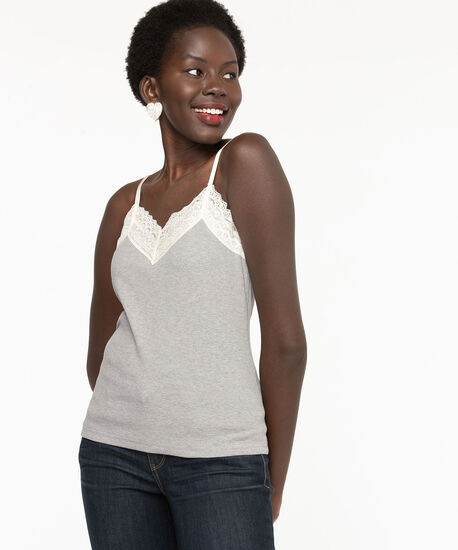 Lace V-Neck Ribbed Cami, Light Grey, hi-res
